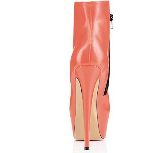 High 15cm Toe Stilettos Boots Round Boots Orange Sexy 5cm Women Booties elashe Ankle Zip Heel Platform 5wxqgUf1