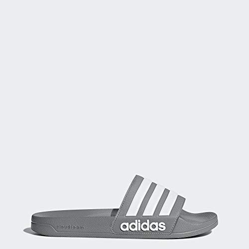 adidas Men's Adilette Shower Slide Sandal, White/Grey, 10 M US
