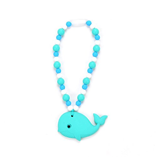 Nummy Beads Turquoise & Blue Whale Teether Toy Attaches To Baby Carrier, Car Seat, High Chair, Stroller or Diaper Bag