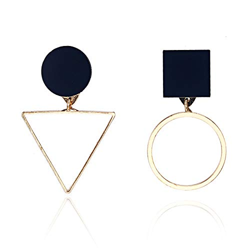 Vintage Personality Asymmetrical Geometric Glamour Fashion Round Triangle Resin Black Stud Earrings for Women (B07L28LWC1) Amazon Price History, Amazon Price Tracker
