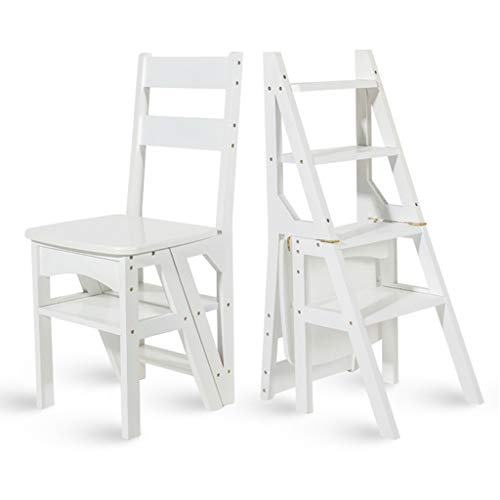 Wooden Flip Stool - Wood Step Stool Bamboo Step Stool Ladder Chair, Folding flip Ladder Stool Stepladders Multifunction Dining Chair, Home Decorative Shelf or Climb Step Ladders, Heavy Duty Max. 150kg/330lbs