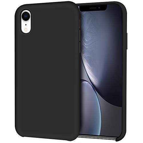 (iPhone XR Case, Hython Liquid Silicone Gel Rubber Case Soft Microfiber Cloth Lining Cushion Anti-Scratch Hybrid Protective Shockproof Slim Smooth Silky Cover for iPhone XR 6.1-Inch 2018, Black)