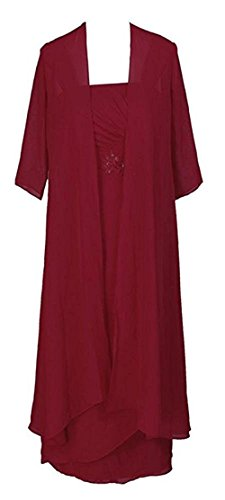 VaniaDress Women Long Mother of The Bride Dress with Jacket V091LF Burgundy US16 from VaniaDress