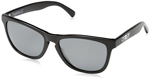 Oakley Frogskins LX Adult Polarized Lifestyle Authentic Sunglasses - Polished Black/Black Iridium / One Size Fits - Sunglass Okley