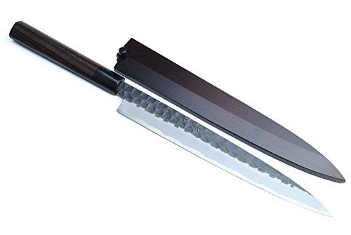 Yoshihiro Hongasumi White Steel Balck Hammered Forged Yanagi Sashimi Knife 11.8 Inch (300mm)