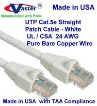 110 Ft RJ45 Computer Networking Cord - Orange Made in USA, Cat5e Ethernet Patch Cable UL cm and 100/% Copper. 24AWG, 50u Gold Plating