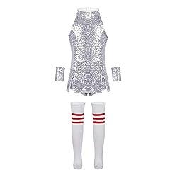 Mini Sequin Dress Dance Costume In Silver