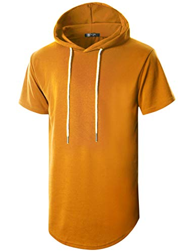 GIVON Mens Hipster Simple Longline Lightweight Pullover Short Sleeve Hooded Shirt/DCF032-DARKORANGE-3XL]()