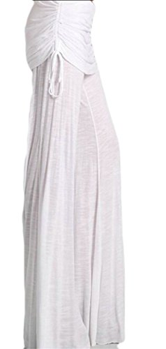 Ruched Wide Leg Gaucho (Gocgt Womens Casual Ruched Drawstring Wide Leg Yoga Long Pants White XL)