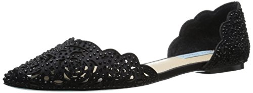 Blue by Betsey Johnson Women's Lucy Flat Black Satin outlet low shipping fee outlet Cheapest L6hfQ