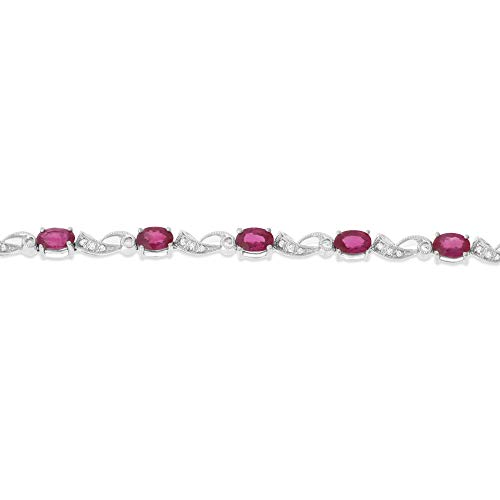 Si1 Si2 Natural - 6.49CTW 18K White Gold Genuine Natural Ruby and Diamond Bracelet 7