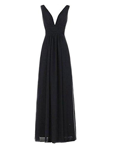 Bowith Sexy V-cou Longue Robe De Demoiselle D'honneur De Robe De Soirée De Bal Des Femmes Noires
