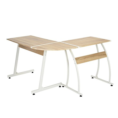 Oak Finish White Metal Wood L-Shape Corner Computer Desk PC Laptop Table Workstation Home Office