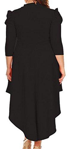 Cromoncent Femmes Arc Cou Manches 3/4 Partie Salut-bas Swing Taille Empire Robe Noire