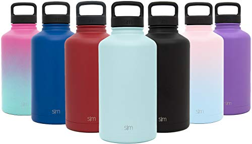 Simple Modern 40 oz Summit Water Bottle - Stainless Steel Metal Flask +2 Lids - Wide Mouth Double Wall Vacuum Insulated Blue Leakproof Thermos -Seaside