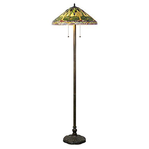 Green Dragonfly Floor - Whse of Tiffany 2013/202 Tiffany-Style Dragonfly Floor Lamp