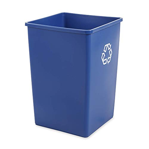 (Rubbermaid Commercial Products 35-Gallon Untouchable Square Trash/Garbage Can for Offices/Stores/Restaurants, Blue Recycling (FG395873BLUE))
