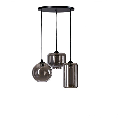 Urban Living Torchiere (Modern Glass Pendant Light in Black Finish - Includes Modhaus Living Pen)
