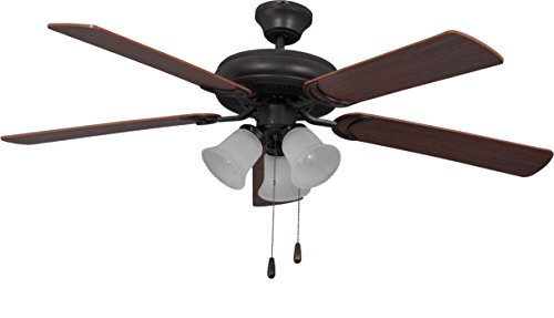Litex E-DCF52FBZ5C3 Decorator's Choice 52-Inch Ceiling Fan with Five Reversible Dark Oak/Mahogany Blades and Three Light Kit with Ribbed Frosted Glass