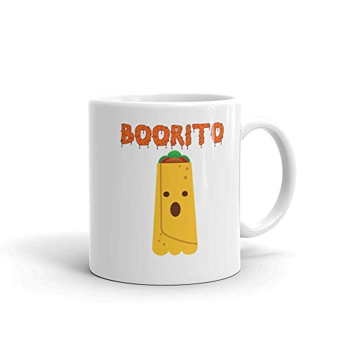 Funny Halloween Burrito Taco Ghost Food Pun 11 oz White Ceramic Unique Design Coffee Tea Mug Cute Gift