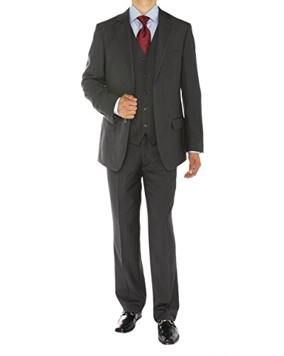 Gino Valentino 3 Piece Men's 2 Button Jacket Flat Front Pants Vested Charcoal Stripe Suit (42 Regular US / 52 Regular (Grey Stripe Wool Suit)