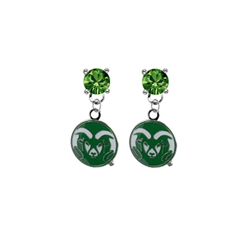 (Colorado State Rams Green Crystal Stud Post Dangle Earrings)