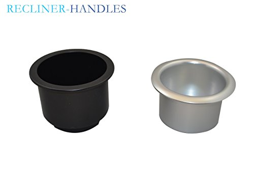 Recliner-Handles Replacement Cup Holder for Sofa Sectional Couch Silver Lip Cup With Black Plastic Insert