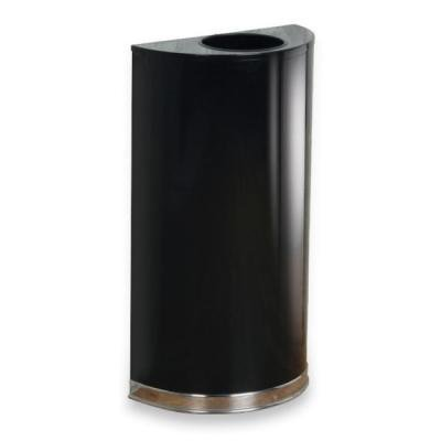 Half Round Trash Open Top (Rubbermaid Commercial European and Metallic Series Open Top Receptacle, Half-Round, 12 Gallons, Black/Chrome)