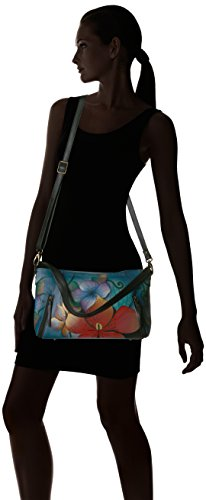 Midnight Satchel Handpainted Anuschka Anna Wide Leather Crossbody Floral Floral Midnight Oxf74