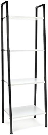 4-Shelf Ladder Bookcase – Modern Free Standing Bookshelf, White