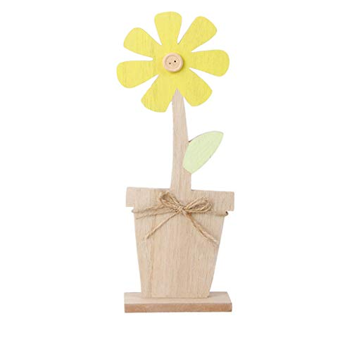 Iusun Easter Decorations Wooden Tulip Button Flower Shapes