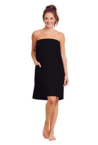 Women Waffle Spa/Bath Wrap with Pocket - Soft Lightweight Comfortable Adjustable Closure, Dry Fast (Small/Medium, -