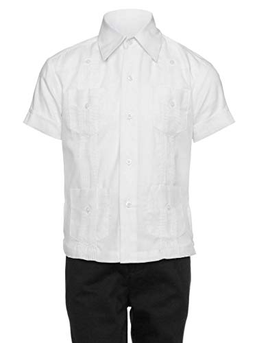 Gentlemens Collection Guayabera Shirt for Boys - Linen Look Cuban Shirt Great for Beach Wedding White Small