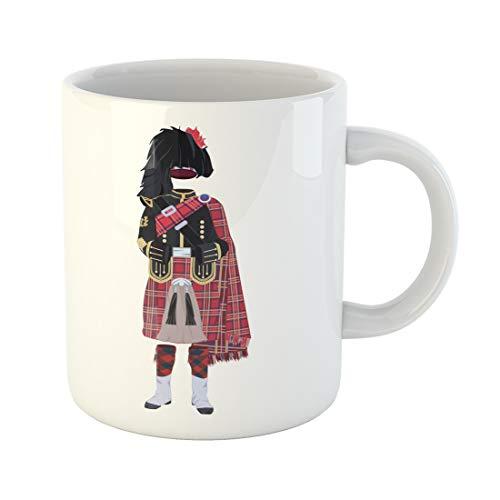 Semtomn Funny Coffee Mug Vector Illustration of Scottish Traditional Piper Uniform Regional Dress the 11 Oz Ceramic Coffee Mugs Tea Cup Best Gift Or Souvenir