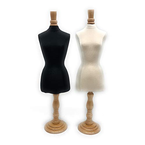 Roxy Display Mini Female Jewelry Mannequin Body Form - Mini Dress Form with Maple Wooden Base and Neck Top (Combo)