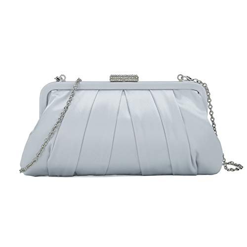 - Charming Tailor Classic Pleated Satin Clutch Bag Diamante Embellished Formal Handbag for Wedding/Prom/Black-Tie Events (Silver)