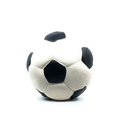 Rubber/Latex Soccer Ball for Medium Dogs and Puppies, 3 inches. Lead-Free & Chemical-Free. Complies to Same Safety Standards as Children's Toys. Soft, Squeaky.