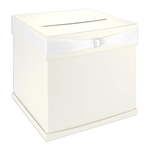 (Andaz Press Ivory Wedding Card Box with Slot, White Satin Ribbon and Rhinestone Buckle, 10