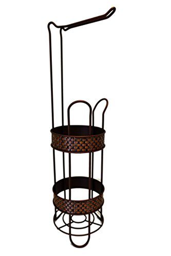 Chateau Basket - American Chateau Basket Weave Floor Oil Rubbed Bronze Toilet Paper Roll Holder Storage & Stand