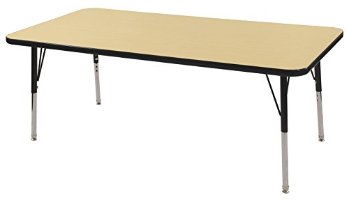 ECR4Kids Mesa Thermo-fused 30'' x 60'' Rectangular School Activity Table, Standard Legs w/ Swivel Glides, Adjustable Height 19-30 inch (Maple/Black) by ECR4Kids