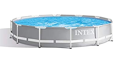 Intex Durable Prism Steel Frame Above Ground Swimming Pool, 30 Inches Deep