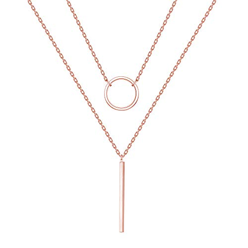 Circles and Rectangular Necklaces - Necklaces can be Worn Separately (Rose Gold) - Rectangular Womens Necklace