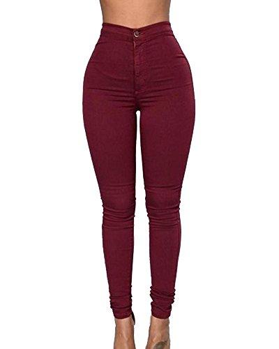Donne Vita Alta Leggings Bodeaux Elastico Skinny Jeans Denim Pantaloni Casuale wrSwx