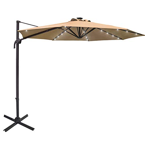 Sundale Outdoor 10 ft Solar Powered 28 LED Lighted Aluminum Offset Hanging Patio Umbrella with Crank and Cross Bar Set, Cantilever Umbrella for Deck, Garden, Backyard, Polyester Canopy (Tan) (What Offset Is An Umbrella)