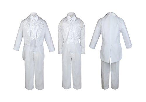 Unotux Boy White Paisley Vest Suit Tuxedo Bow Tail Baptism Christening Communion (8) ()