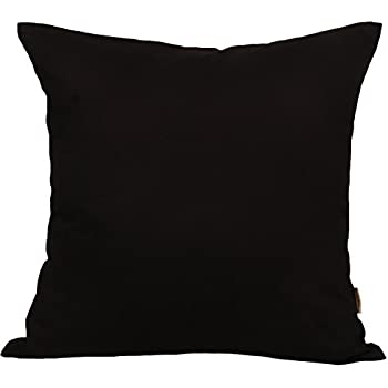 """TangDepot Cotton Solid Throw Pillow Covers, 18"""" x 18"""" , Black"""