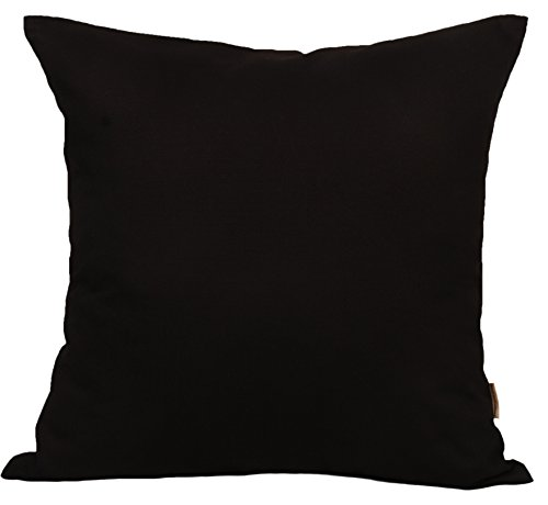 Black Pillow - TangDepot Cotton Solid Throw Pillow Covers, 12