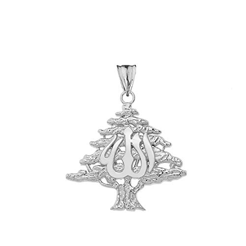 Fine Sterling Silver Lebanese Cedar Tree with Allah Symbol Pendant
