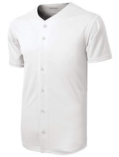 DRIEQUIP Mens Moisture Wicking Tough Mesh Full-Button Jersey-2XL-White ()