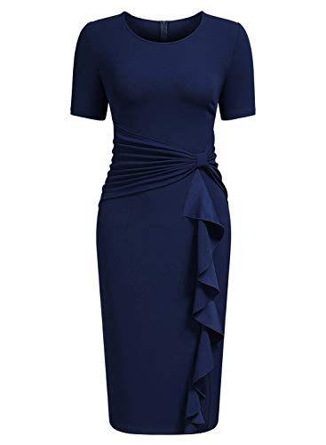 AISIZE Women's 50s Vintage Ruffle Draped Short Sleeve Bodycon Cocktail Knee Dress Navy - Navy Blue Cocktail